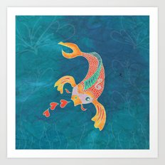 Breathing Love - Goldfish, Koi, Hearts Art Print