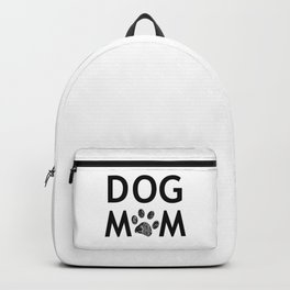 Black paw print with hearts. Dog mom text. Happy Mother's Day background Backpack