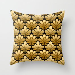 Art Deco Shell Pattern, Gold and Black Throw Pillow