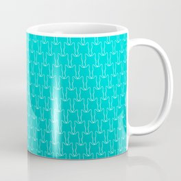 Micro Cats Pattern - Teal Turquoise Ombre Coffee Mug