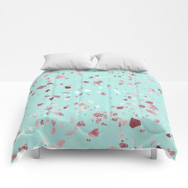 Turquoise and Rosegold Glitter Terrazzo Comforters