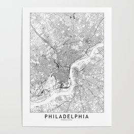 Philadelphia White Map Poster