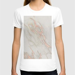 Marble - Rose Gold Marble Metallic Blush Pink T-shirt