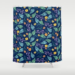 Watercolour dark blue seamless pattern background with whimsical flowers. Shower Curtain