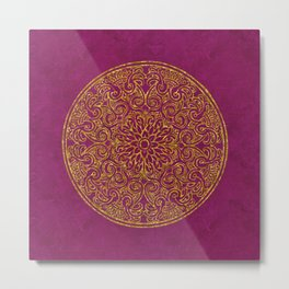 Shimmering Gold Ornament on Red Metal Print