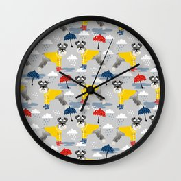 Schnauzer spring raincoat cute pattern for dog lover with schnauzers Wall Clock