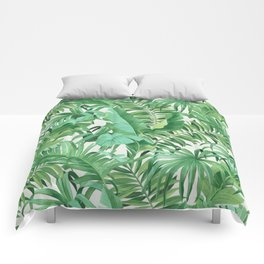 Green tropical leaves III Comforters