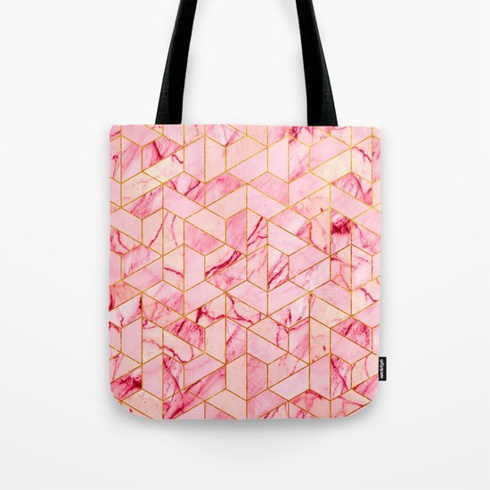 Pink Marble Hexagonal Pattern Tote Bag