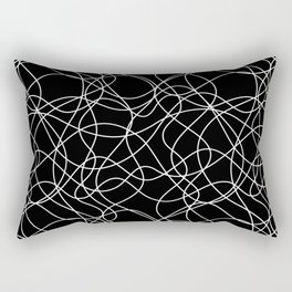 Abstract Scribbled (doodle) Line Art Odd Shape Pattern Black and White Rectangular Pillow