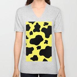Cow Print Pattern / White / Black / GFTCowPrint002 / Yellow Background  Unisex V-Neck