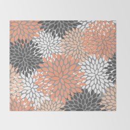 Floral Pattern, Coral, Gray, White Throw Blanket