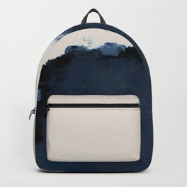 Abstract, blue, beige, indigo Backpack