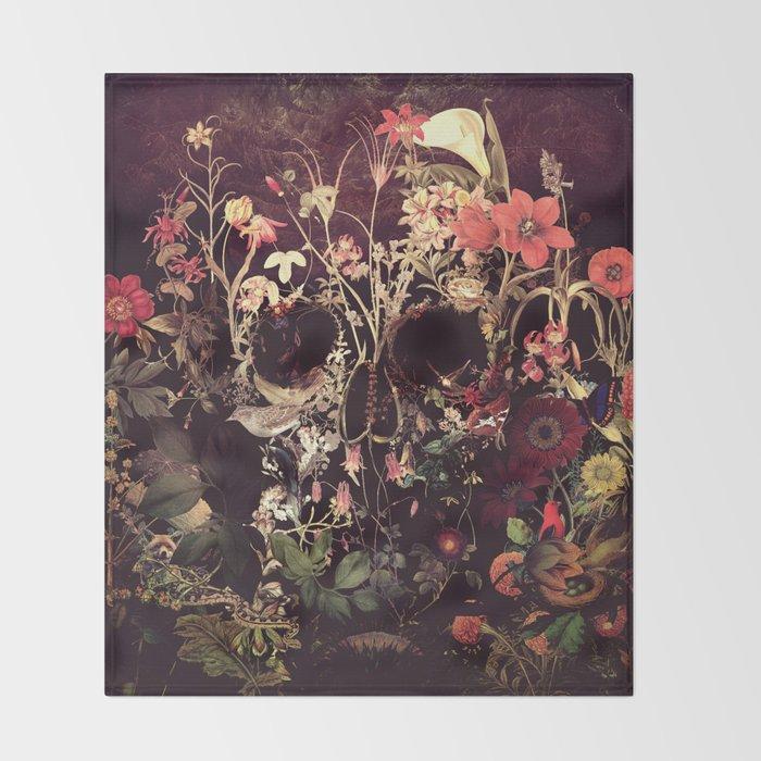 Bloom Skull Throw Blanket