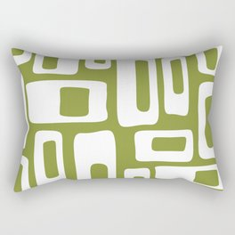 Retro Mid Century Modern Abstract Pattern 335 Olive Green Rectangular Pillow