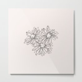 Daisy flowers line drawing - Nina I Metal Print