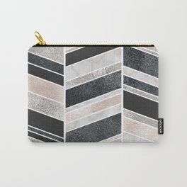 Shimmering Chevron Pattern - white pearl marble, silver and black Carry-All Pouch