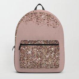 Blush Pink Rose Gold Bronze Cascading Glitter Rucksack