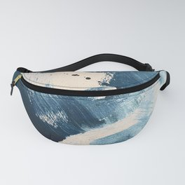 Against the Current: A bold, minimal abstract acrylic piece in blue, white and gold Fanny Pack