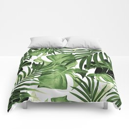 Tropical Jungle Leaves Pattern #12 #tropical #decor #art #society6 Comforters