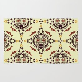 pattern with Tribal mask ethnic Rug