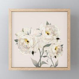 White Peonies Framed Mini Art Print