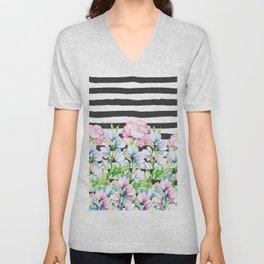 Black white brushstrokes lavender pink watercolor floral stripes Unisex V-Neck