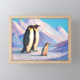 Happy Penguin Family Framed Mini Art Print