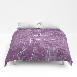 Dayton Map, USA - Purple Comforters