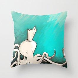 Octoking Throw Pillow