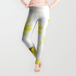 yellow cosmos flowers watercolor Leggings