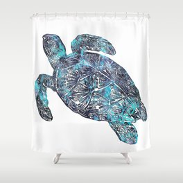 Sea Turtle Blue Watercolor Art Shower Curtain