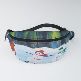 Christmas Night with dancing snowmen Fanny Pack