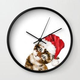 Christmas Baby Cat Wall Clock