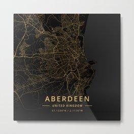 Aberdeen, United Kingdom - Gold Metal Print