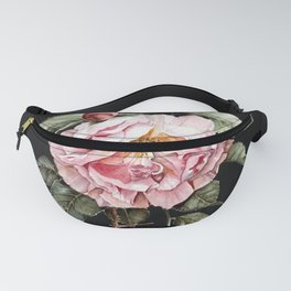 Wilting Pink Rose Watercolor on Charcoal Black Fanny Pack