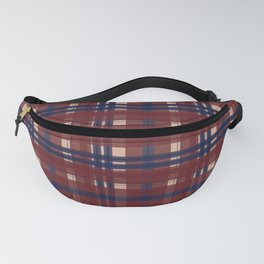 Plaid- Navy Red and Tan Fanny Pack
