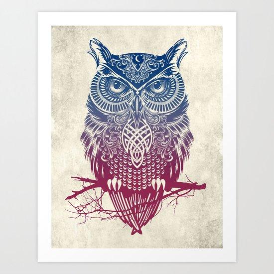 Evening Warrior Owl Art Print