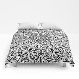 Circle of Life Mandala Black and White Comforters