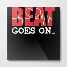 Beat Goes On EKG Valentine's Day Design Metal Print