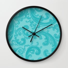Retro Chic Swirl Teal Wall Clock