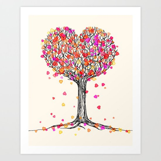 Love in the Fall - Heart Tree Illustration Art Print