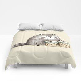 Raccoon on Bongos Comforters