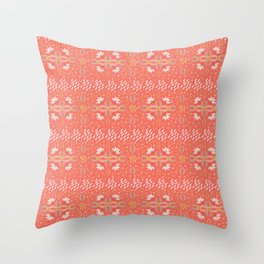 Coral Daisies Patchwork Cosy Homely Quilt Design Throw Pillow