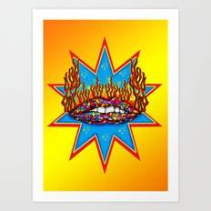 Psychedelic Lips  Art Print