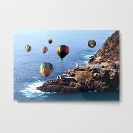 Flying Colorful Hot air Balloons over Newfoundland Metal Print