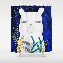 polar bear with botanical illustration in blue Shower Curtain