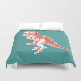 Dino Pop Art - T-Rex - Teal & Dark Orange Duvet Cover