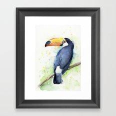 Toucan Tropical Bird Watercolor Framed Art Print
