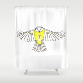 Blue Tit in Flight Shower Curtain