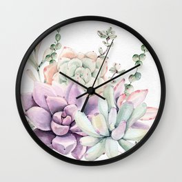 Succulents Mint and Purple by Nature Magick Wall Clock